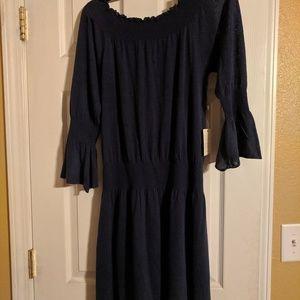 Margaret OLeary off the shoulder dress-Navy